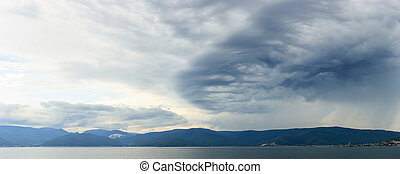 Stormy clouds over Lake Baikal, Russia