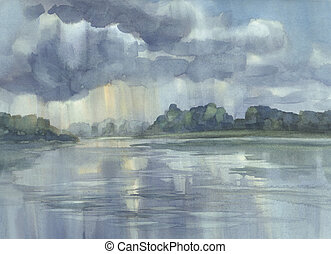 Stormy clouds over the lake watercolor background