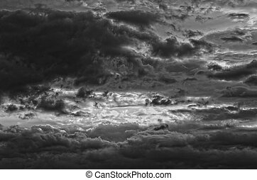 Stormy clouds black and white