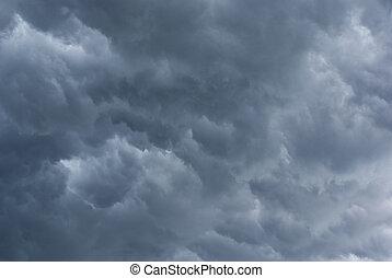 Stormy clouds. - Dark, stormy sky. Blurred rain streaks...