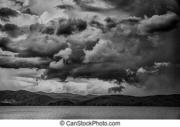 stormy landscape over lake jocassee south carolina