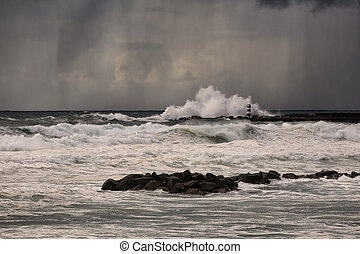 Stormy late afternoon at sea - Stormy late afternoon with ...