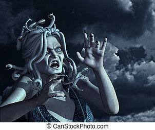 An angry Medusa against a raging dark sky - 3d render with photograph and digital painting. All elements by Linda Bucklin.