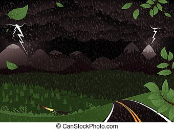 Stormy night landscape.eps