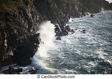 stormy ocean breaking wave