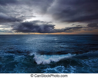 Stormy waves of the Atlantic ocean at the sunset time, Canary Island La Palma