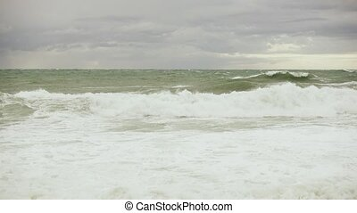 Stormy ocean under gray clouds - The stormy ocean under gray...