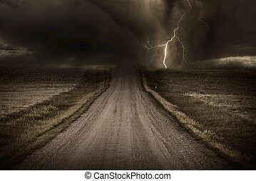 Stormy Road - Stormy Back Country Road. Heavy Storm and...