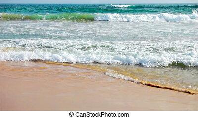 Stormy sea and a sandy beach