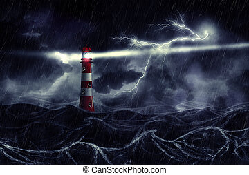Stormy Sea and Lighthouse - Lighthouse illuminated at night ...
