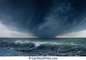 Stormy sea - Nature force background - dark stormy sky and...