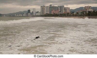Stormy Sea Nha Trang Vietnam HD Movie - High definition...