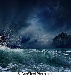 Stormy sea - Dramatic nature background - big wave and dark...