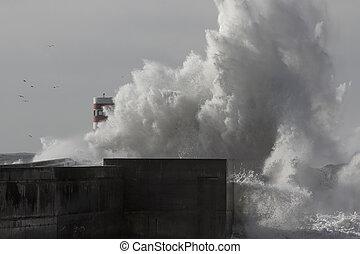 Stormy sea wave splash