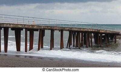 Stormy seaside in winter