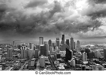 Stormy Seattle - Dark Storm clouds loom over the city of...