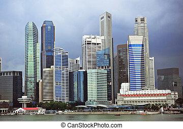 Stormy Singapore - Skyline of Singapore with rainy sky