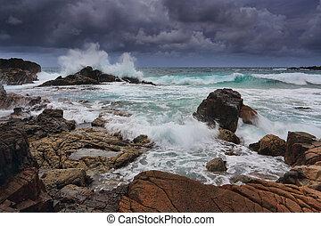 stormy skies over rugged coastline - Stormy skies over...