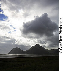 Stormy skies over the Iceland coastline