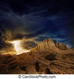 Stormy sky, lightning, mountains