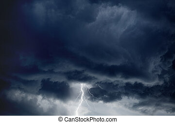 Stormy sky, lightning - Nature force background - bright...