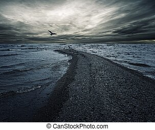Stormy sky over dark sea.