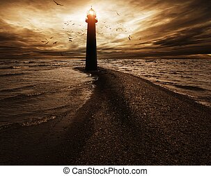 Stormy sky over  lighthouse