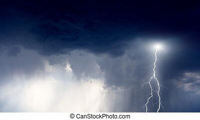 Stormy sky - Nature force background - lightning in storm...