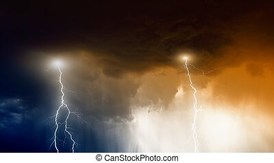 Stormy sky with lightnings and rain