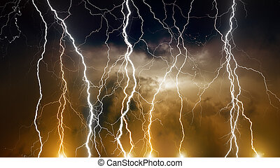 Stormy sky with lightnings - Dramatic background -...