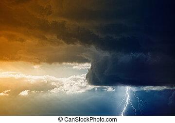 Stormy sky wtih lightning