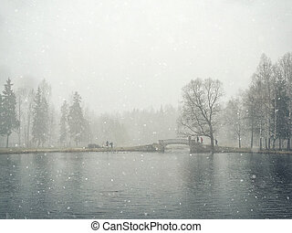 Stormy snow day in the city Park. Winter landscape.
