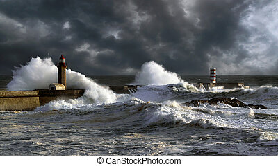 Stormy sunset at the harbor of the mouth of the river Douro, in Porto, Portugal, with big waves against old lightouse, new pier and beacon; enhanced sky
