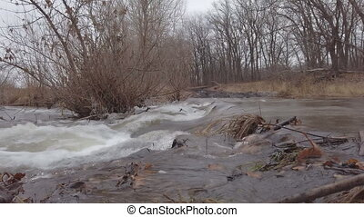 Stormy water flow of the forest river in late autumn on cloudy day