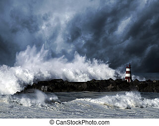 Stormy waves against beacon - Storm waves over beacon of the...
