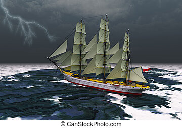 STORMY WEATHER - A tall ship glides through rough seas ...