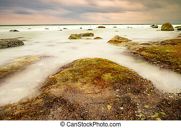 Stormy weather at north Coastline of Cape Arkona, Germany. ...