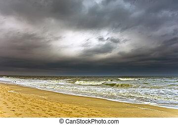 Stormy weather, Atlantic ocean coast, MD, USA