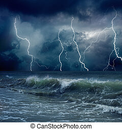 Stormy weather - Dramatic nature background - lightnings in...