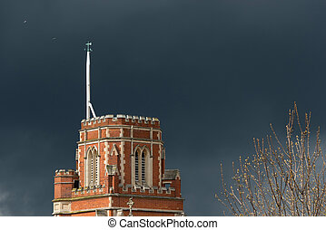 Stormy weather in London - Threatening sky over St Thomas a...