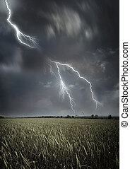 Lightning across the countryside.