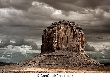 Monument Valley - Stormy weather over Monument Valley in...