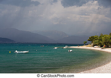 Peloponnese, Greece - Stormy weather over the sea, ...