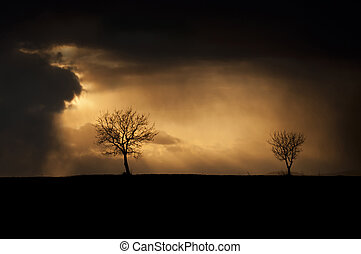 Stormy Weather - Stormy weather with dark thunderclouds and...