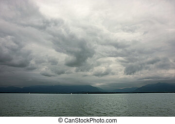Stormy weather - Dark clouds during the stormy weather at...