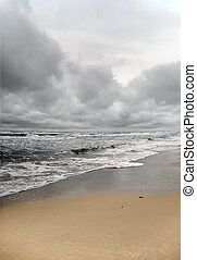 Stormy weather - Sea and beach view during bad stormy...
