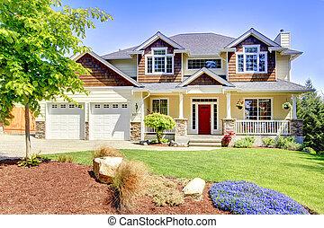 stort, amerikan, vacker, hus, med, röd, door.