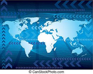 stort, blå, karta