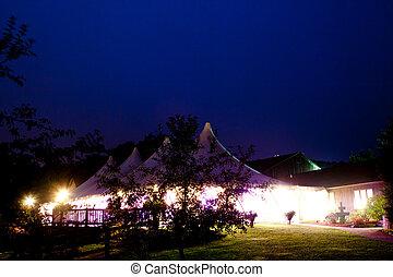 stort, bröllop, tält