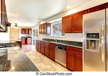 stort, cabinets., körsbär, mörk, lysande, kök